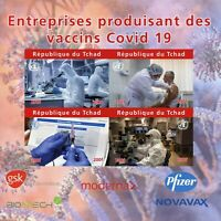 Chad Medical Stamps 2020 MNH Corona Companies Producing Vaccines IMPF 4v M/S