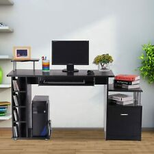 "HOMCOM 59.8"" Wood Computer Desk Laptop Table Office Home Drawer Shelf, Black"
