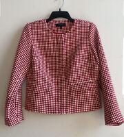 Talbots Women's Jacket Wool Blend Pockets Polka Dot Red White Full Zip Sz 6P