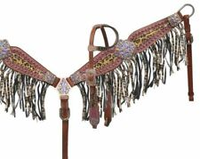 Showman Purple Metallic Leopard Leather Bridle Fringe Breast Collar Crystals
