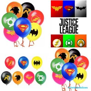 Justice League Latex Birthday Party Balloons x7 justice league party Decorations