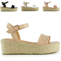 Womens Low Wedge Heel Sandals Ladies Strappy Peeptoe Flatform Summer Shoes Size