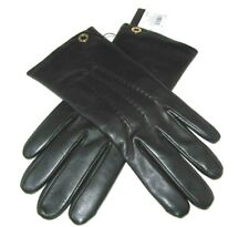 Coach Ladies Black Sheepskin Leather Gloves Merino Wool F32700 Size 8