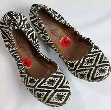 Cute LUCKY BRAND Womans BALLET FLAT shoes Tribal aztec Print BLACK Cream-SZ 6 B
