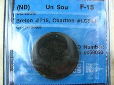 LC-5A1 CCCS F-15 Corr. Un Sou token Lower Bas Canada Banque du Peuple Breton 715