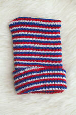 Red White and Blue Striped Knit Boy Newborn Hospital Hat - Baby Beanie