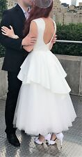 Gorgeous Wedding Dress White/Ivory Mid-calf Beaded Swarovski Satin and Chiffon