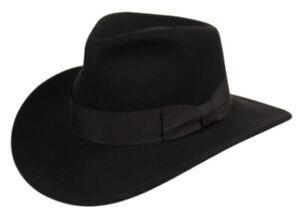 Premium Wool Felt Indiana Jones Fedora Hat w/Grosgrain Band Crush-able Outback