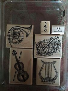Stampin' Up MUSICAL MEDLEY Set of 6 RARE Stamps Retired 2000
