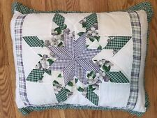"Hand Stitched Quilt Pillow Eight Point Star Design 21""x26"""