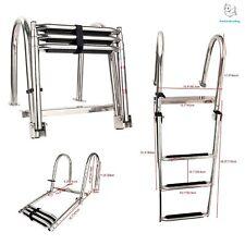 3 Step Folding Rear Entry Pontoon Boat Ladder / Rear Entry Ladder w/ Wide ESA