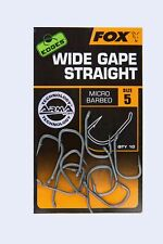 Fox edges Hooks Wide Gape straight micro barbed 10 ganchos talla 2 4 5 6 7 8 arma