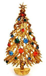 Art Christmas Tree Brooch Multi Color Rhinestones Signed Holiday Pin Vintage