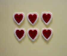 6 Red Embroidered Heart Appliques - EB2