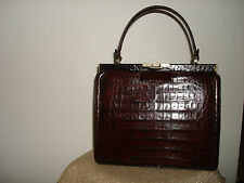 Vintage Collectible Very Nice Manon Color Brown Alligator Leather Hand Bag Purse