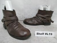 NINE WEST Brown Leather Double Buckle Ankle Boots Size 9.5 M