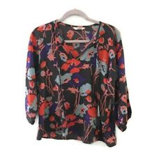 TUCKER Tie neck silk gray floral 3/4 sleeve blouse. Neck ties. Women's size S