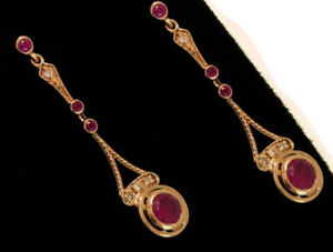 E134 Exquisite Genuine 9ct SOLID Rose Gold NATURAL Ruby & Diamond Drop Earrings