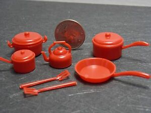 Dollhouse Miniature Red Cookware Set Pots Pans 1:12 scale G76 Dollys Gallery