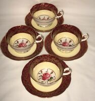 4 England ROYAL SWANSEA ROSE* MAGENTA & GOLD* CUPS & SAUCERS*