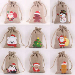 Christmas Burlap Jute Bags Drawstring Gifts Bag For Xmas Party Candy Pouch 1Pc