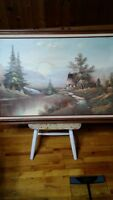 Country Landscape Oil on Canvas Framed by R. Cooper: Vintage Condition