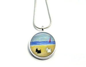 Silver Plated Scottie and Westie Dog Art 20mm Necklace