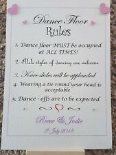 A4 Personalised Dance Floor Rules Sign