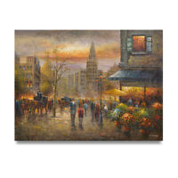 NY Art - Dramatic Paris Street Scene 36x48 Original Oil Painting on Canvas!
