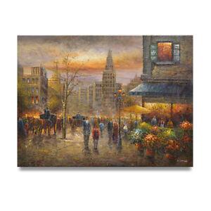 NY Art - Dramatic Paris Street Scene 36x48 Original Oil Painting on Canvas!