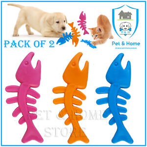 FISH PACK OF 2 PUPPY CAT RUBBER TOY NON TOXIC HOURS OF FUN PLAY & EXERCISE