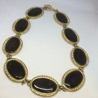 Vintage Necklace Black Brown Gold Tone Diamanté Statement