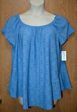 Womens Pretty Blue Eyelet NY Collection Cap Sleeve Shirt Size 1X NEW NWT
