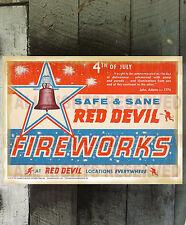 VINTAGE SAFE AND SANE RED DEVIL FIREWORKS FINE ART REPRINT FIRECRACKER POSTER