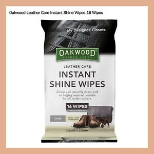 Oakwood Leather Care Instant Shine Wipes 16 Wipes Shoes Bags Accessories Travel