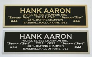 Hank Aaron Nameplate for signed autographed baseball jersey photo glove bat