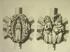 1795 PRINT GOTHIC ORNAMENT YORK MINSTER ~ TWO KNOTS IN THE CEILING OF THE NAVE