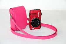 pink Leather camera case bag for Canon powershot A2500 A2300 A1400, ELPH 130 IS