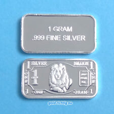 1 grammi Argento Lingotto-Leone (argento finemente Lingotto ARGENTO SILVER LION) NUOVO