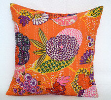 Indian Pure Floral Cotton Pillow Case Print Kantha Style Orange Cushion Cover16""