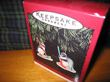 Hallmark 1996 Goal Line Glory Keepsake Ornament Set of Two Penguins