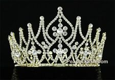 Tall Large Pageant Miss Contest Tiara Full Circle Swarovski Crystal Gold Crown