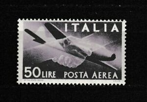 s34992 ITALIA 1947 MNH L.50 Posta Aerea Democratica 1v Ruota/I