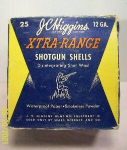 1950~J.C. HIGGINS~XTRA RANGE~SHOTGUN SHELLS BOX~12 GA. 6 SHOT~VINTAGE HUNTING~