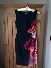 PHASE EIGHT NICOLETTA BLACK RED FLORAL FITTED PENCIL DRESS SIZE 12 BNWT