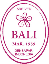 "Bali Densapar Indonesia Passport Travel Retro Car Bumper Sticker Decal 4"" x 5"""