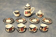 1:12 Set da Tè Floreale SCALA 15 Pezzo doll House Miniatura Set da tè in ceramica