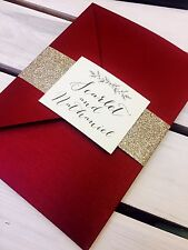 1 'Scarlet' Red pocket wedding invitation/RSVP/menu sample & gold glitter wrap