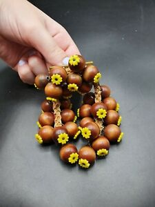 Vintage 1940s Rare Unsigned Miriam Haskell Wood Flower Brooch