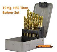 19 tlg HSS TIN Stahl Spiralbohrer Titan Metallbohrer Bohrer Set Satz Ø 1 - 10 mm